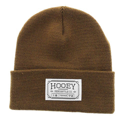 brown hooey beanie with fold up cuff and sewn on mercantile hooey logo