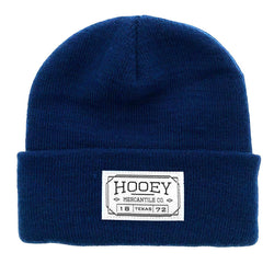 navy blue hooey beanie with sewn on patch and fold up cuff