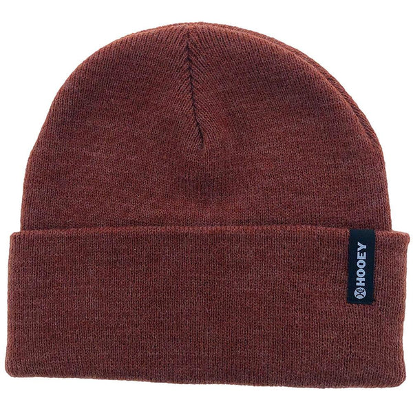 maroon beanie hat with hooey logo and fold up cuff