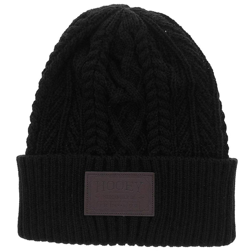 womens black hooey beanie with leather hooey patch knit design