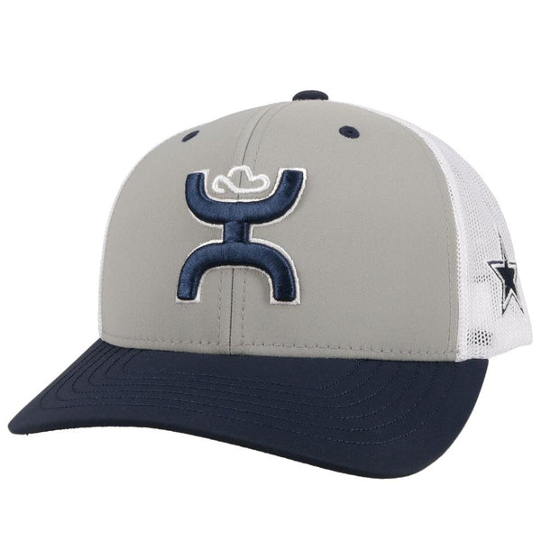 dallas cowboys ball cap, grey front, navy bill, white mesh, hooey logo (front view)