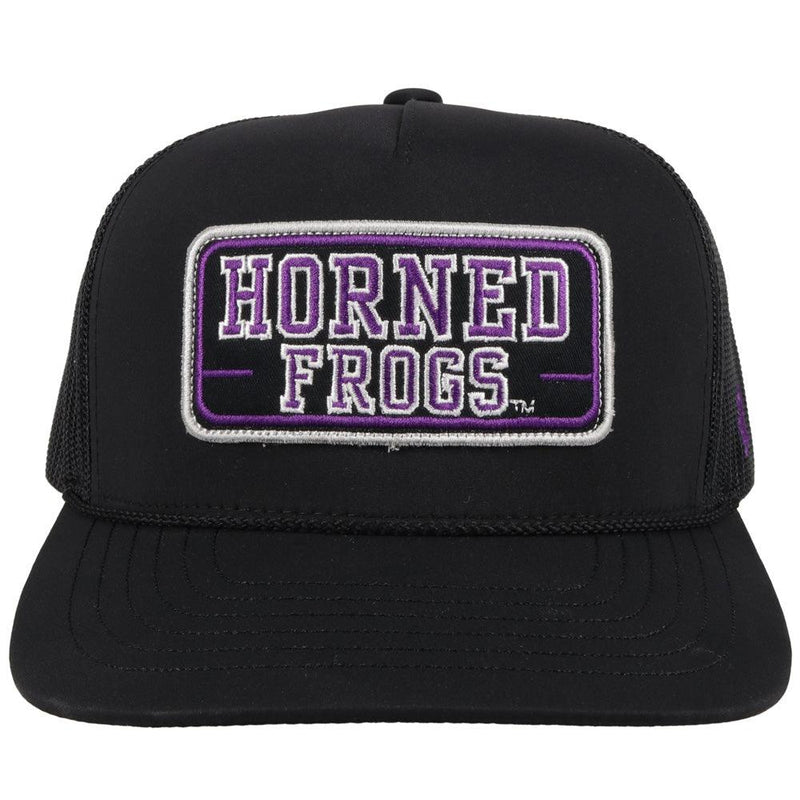 front view - black tcu trucker hat with horned frogs patch. black mesh back and adjustable strap by hooey