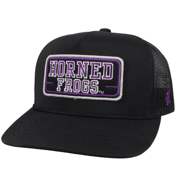 black tcu trucker hat with horned frogs patch. black mesh back and adjustable strap by hooey