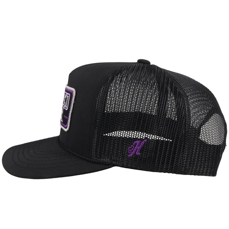 side view - black tcu trucker hat with horned frogs patch. black mesh back and adjustable strap by hooey
