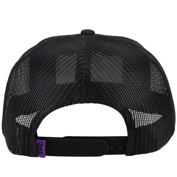 back view - black tcu trucker hat with horned frogs patch. black mesh back and adjustable strap by hooey