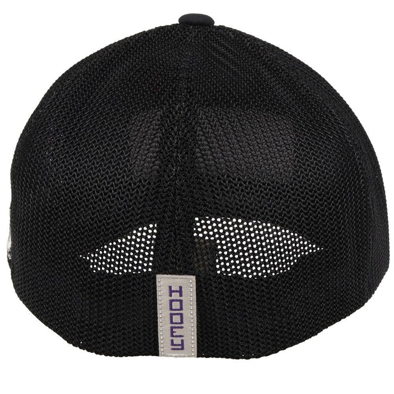 (back view) black tcu hat with purple logo sen on front flexfit curved bill hooey baseball cap