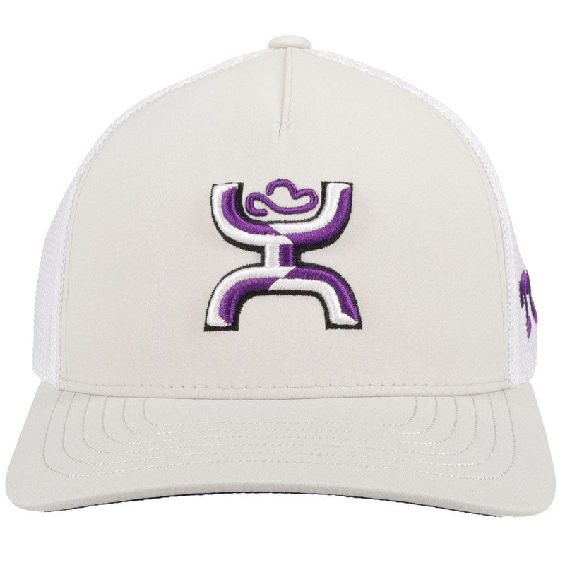 front view - grey and white texas university hat with hooey roughy man logo
