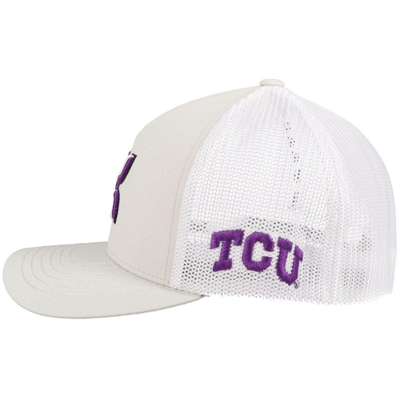 side view - grey and white texas university hat with hooey roughy man logo