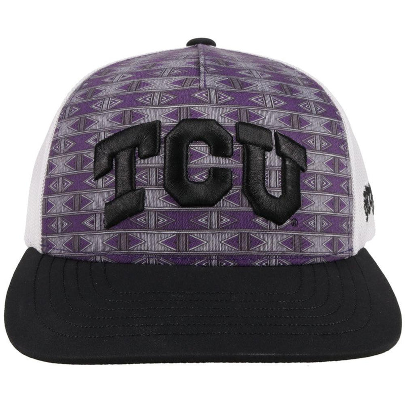 front view. aztec pattern purple tcu hat with white mesh back and black bill by hooey