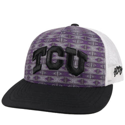 aztec pattern purple tcu hat with white mesh back and black bill by hooey