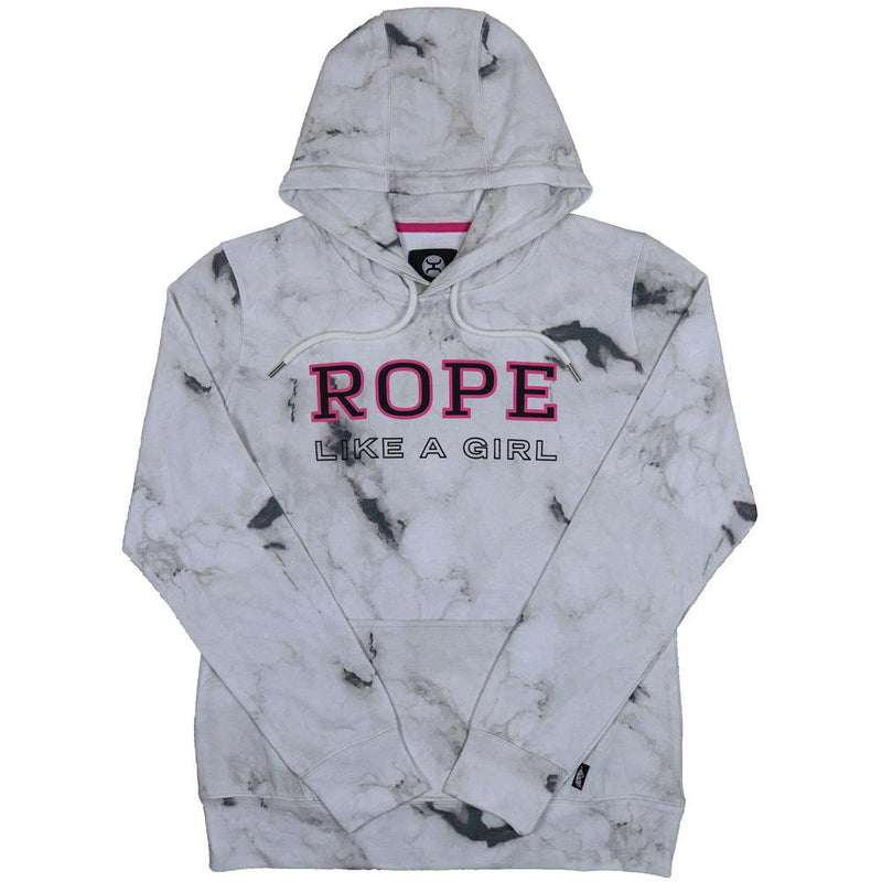 Rope Like Girl White Marble Hoodie
