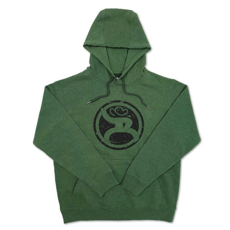 green hooey hoodie for men with roughy logo