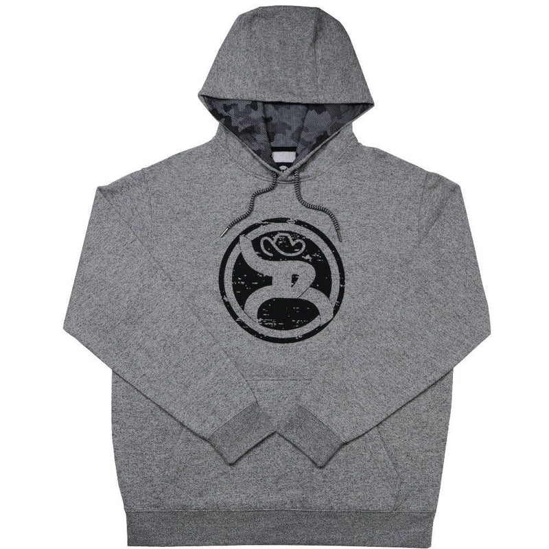 grey hooey hoodie with roughy logo and camo lining