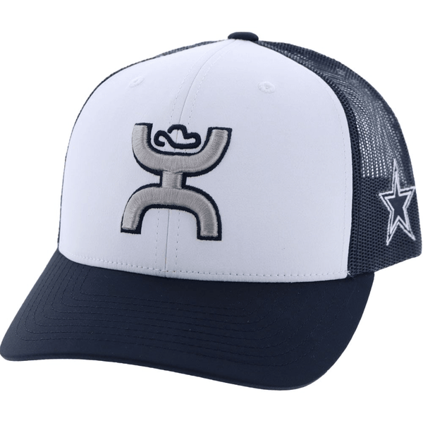 blue and white dallas cowboys hat with hooey logo (front view)