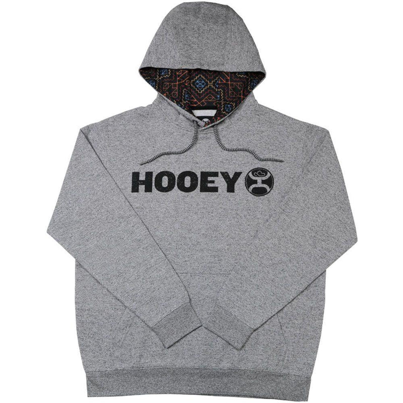grey hooey hoodie, mens hoodies, aztec pattern in hood