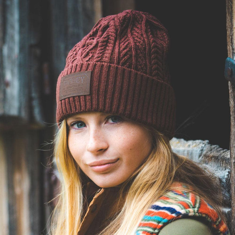 """Ladies Beanie"" Maroon w/ Leather Patch"