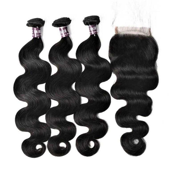 3 Bundles Virgin Brazilian Body Wave Hair With Lace Closure (Natural Black) - Beautiful Inches