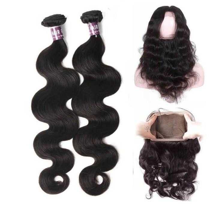 2 Bundles Of Brazilian Body Wave Hair With 360 Frontal - Beautiful Inches