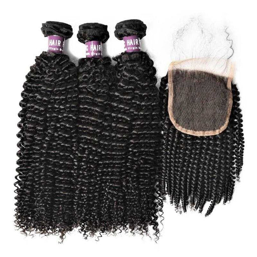 3 Bundles Of Virgin Brazilian Kinky Curly Hair With Closure (Natural Black) - Beautiful Inches