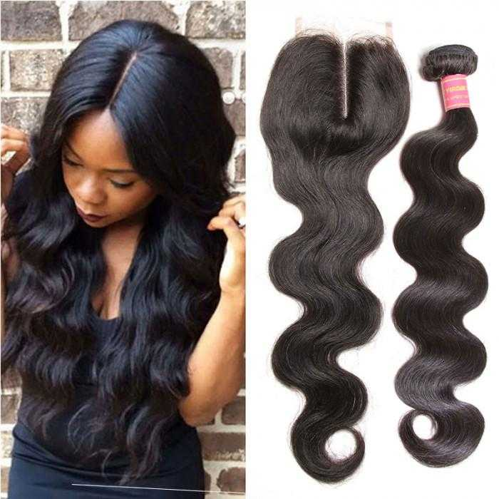 3 Bundles Virgin Indian Body Wave Hair With Lace Closure - Beautiful Inches