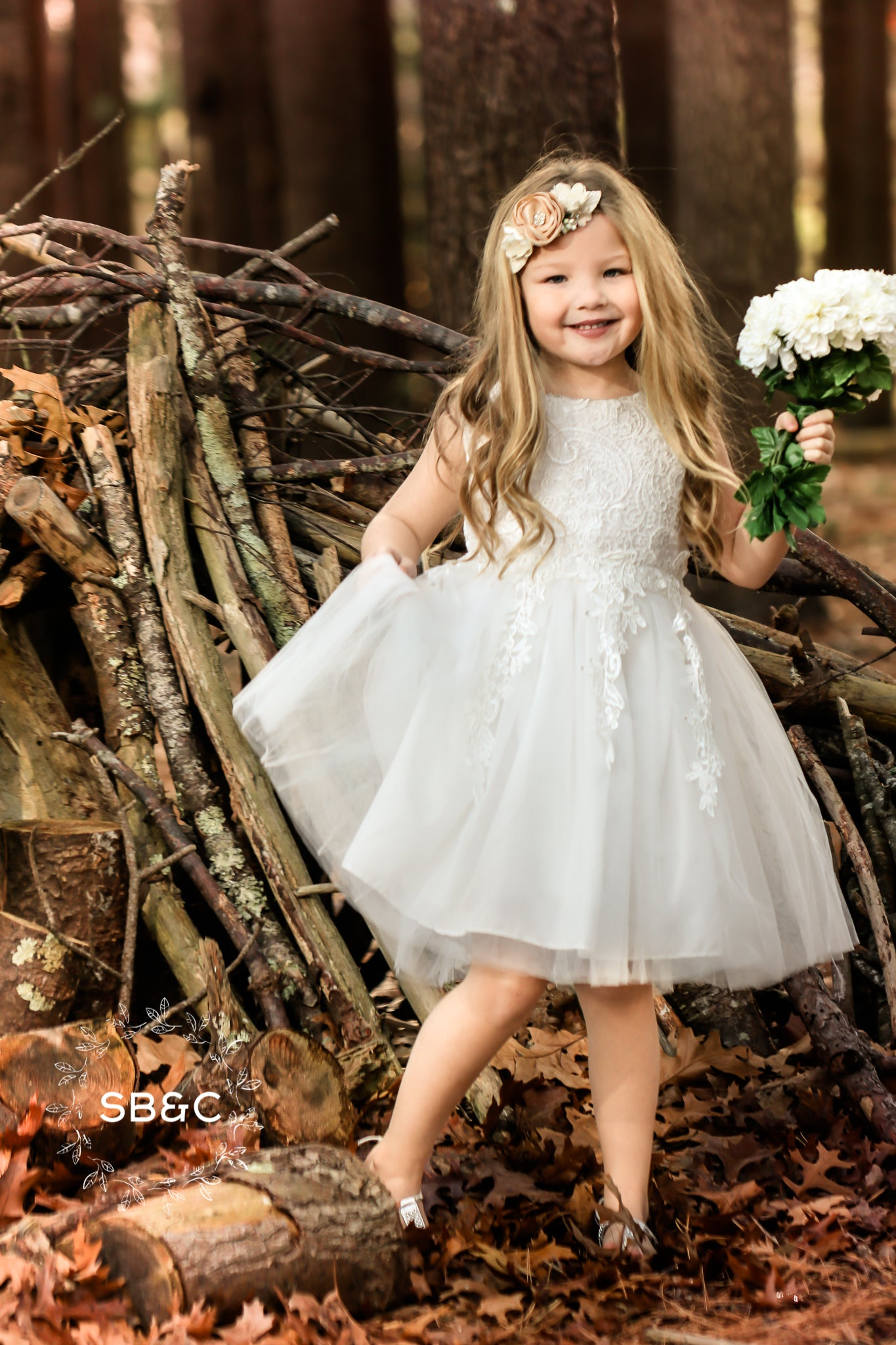 fbe1da01230 Madison Flower Girl Dress in White-Vintage-Boho-Lace-Rustic ...