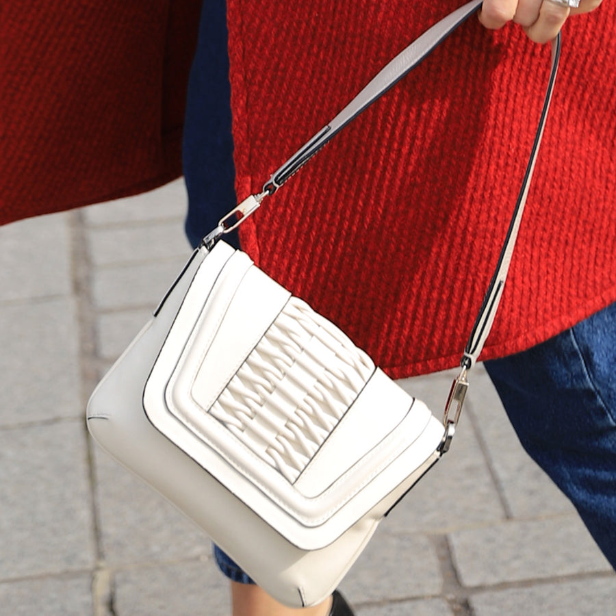 YLINA YEPEZ Fabiana braided off white clutch
