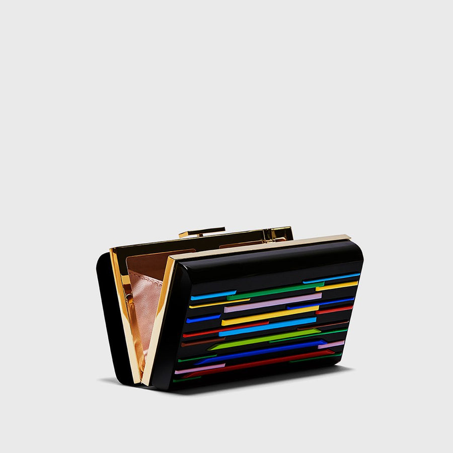 YLIANA YEPEZ Minaudiere clutch Layla resin multicolor gold