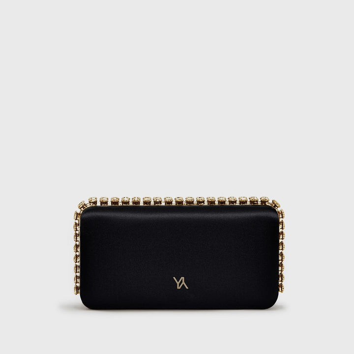 YLIANA YEPEZ Minaudiere clutch Grace Plus black satin gold