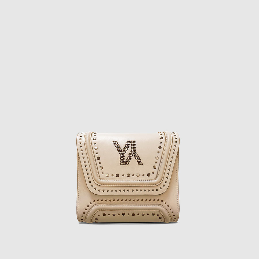 YLIANA YEPEZ Mini Giovanna clutch metallic studs lamb
