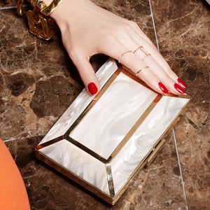 YLIANA YEPEZ Minaudiere clutch Gaia resin mother of pearl
