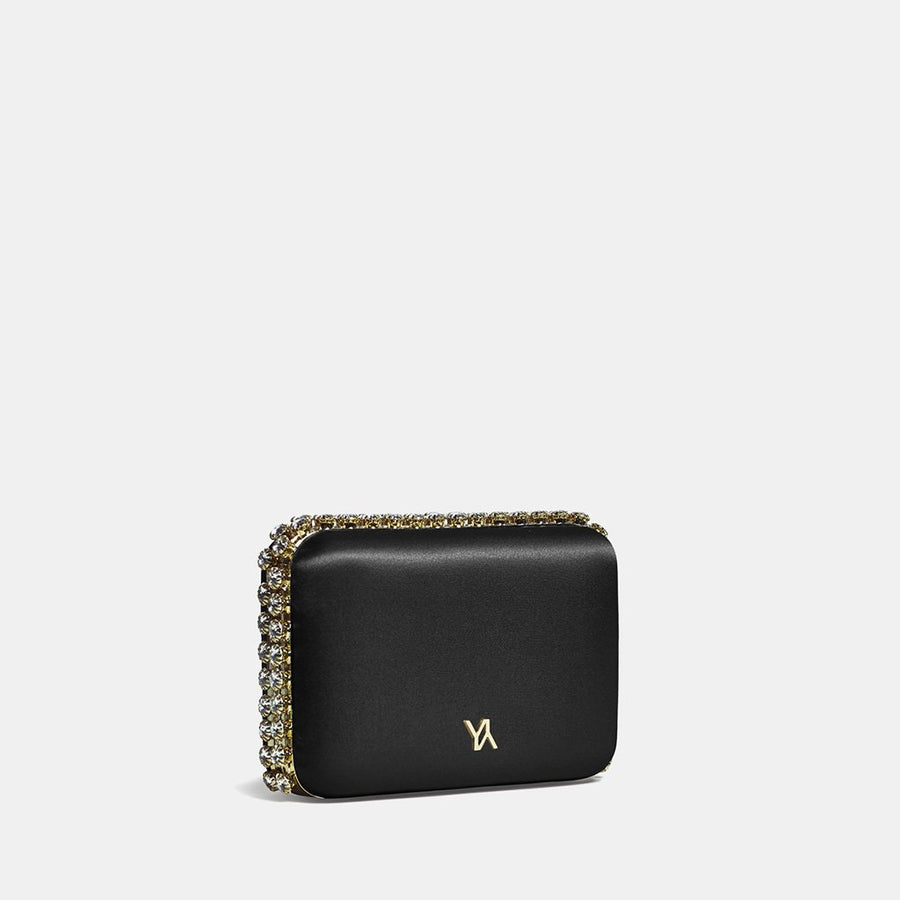 YLIANA YEPEZ Minaudiere clutch Grace black satin gold