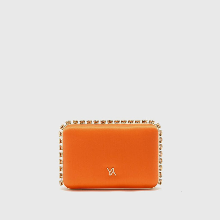 YLIANA YEPEZ Minaudiere clutch Grace orange satin