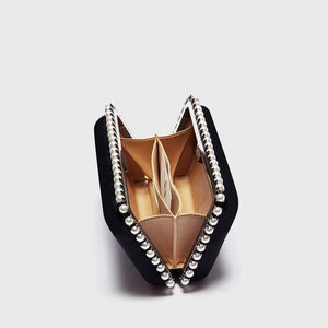 YLIANA YEPEZ Minaudiere clutch Grace Plus black satin pearls