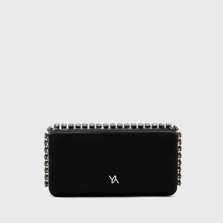 YLIANA YEPEZ Minaudiere clutch Grace Plus black satin gunmetal