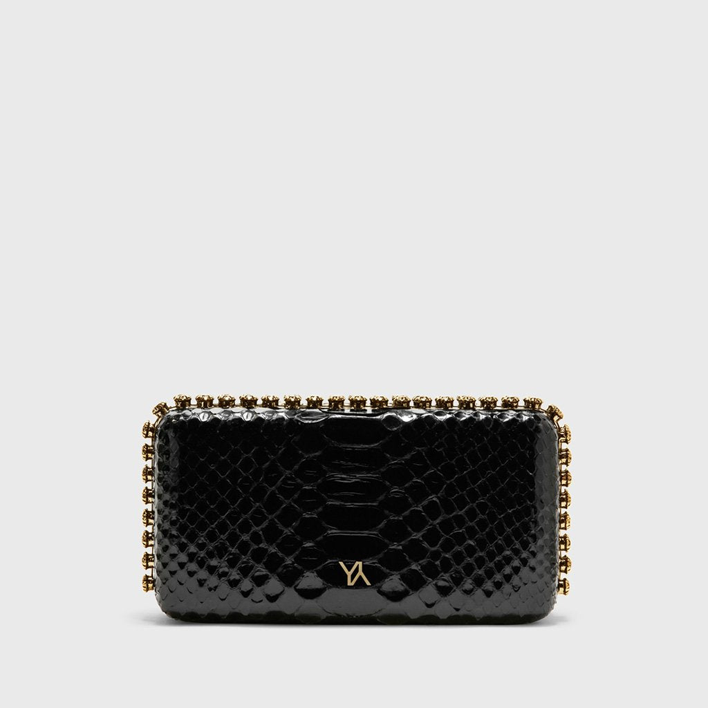 9bb826ced0 Grace plus glazed python black minaudière with gold hardware – Yliana Yepez