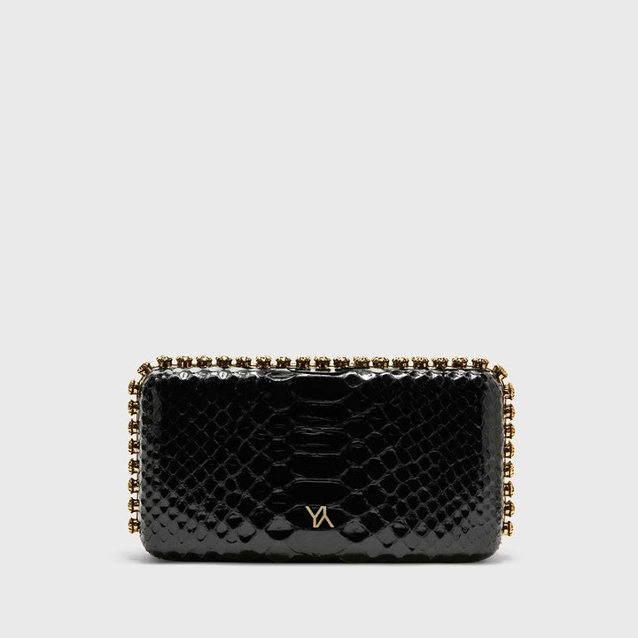YLIANA YEPEZ Minaudiere clutch Grace Plus black python gold