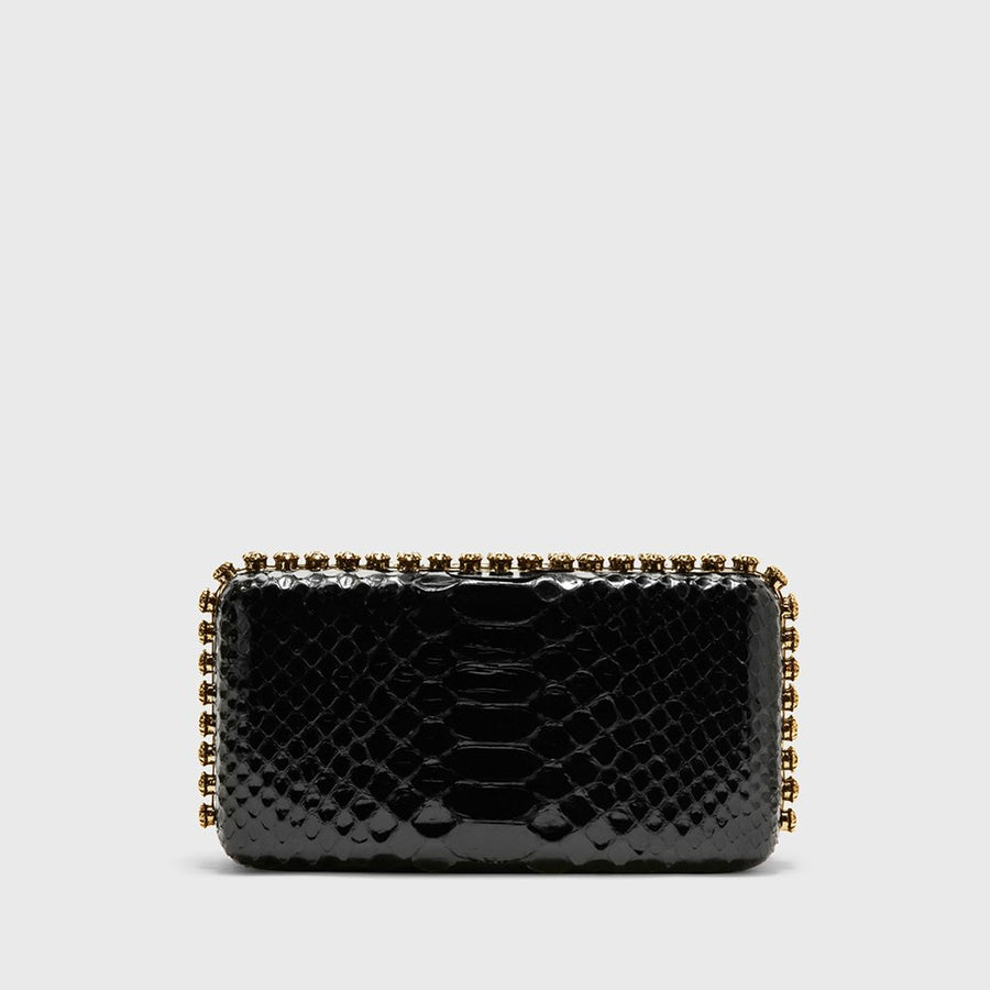 Grace plus glazed python black minaudière with gold hardware