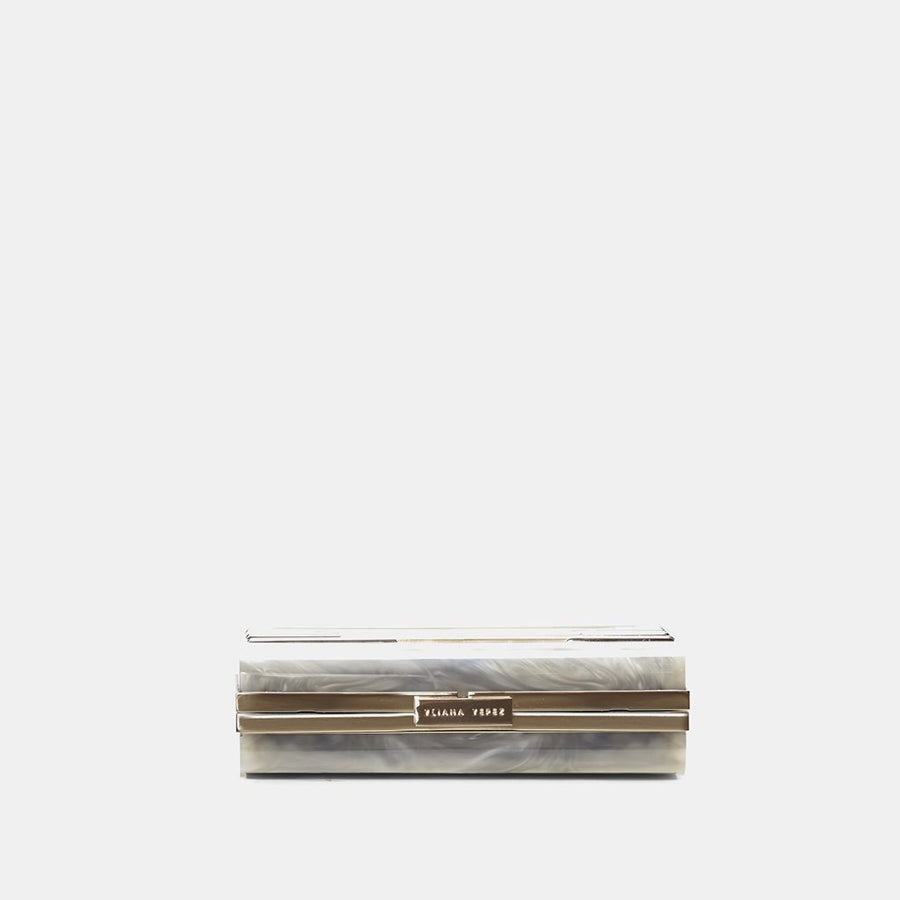 YLIANA YEPEZ Minaudiere clutch Layla resin mother of pearl