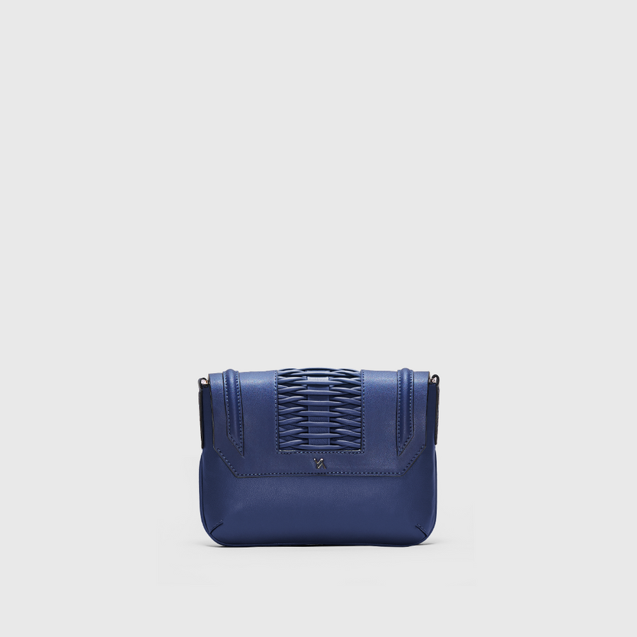 YLIANA YEPEZ Fabiana braided navy clutch