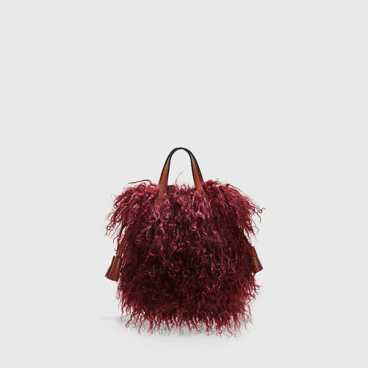 YLIANA YEPEZ Maya Mini bordeaux mongolian hair satchel