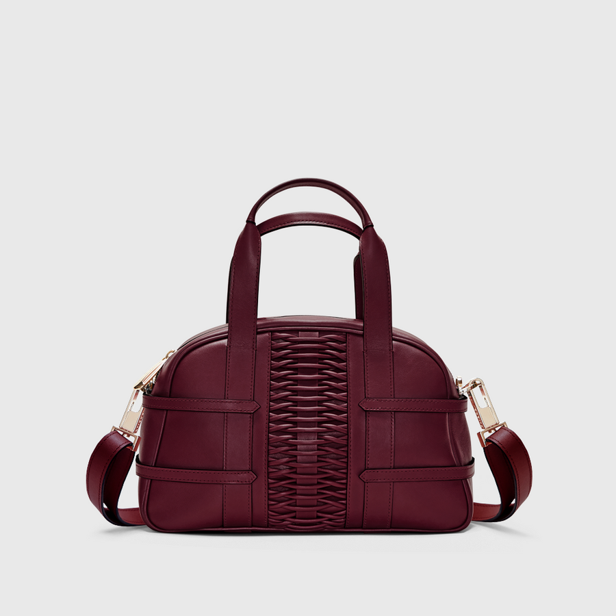 YLIANA YEPEZ Medium Francesca braided bordeaux satchel handbags