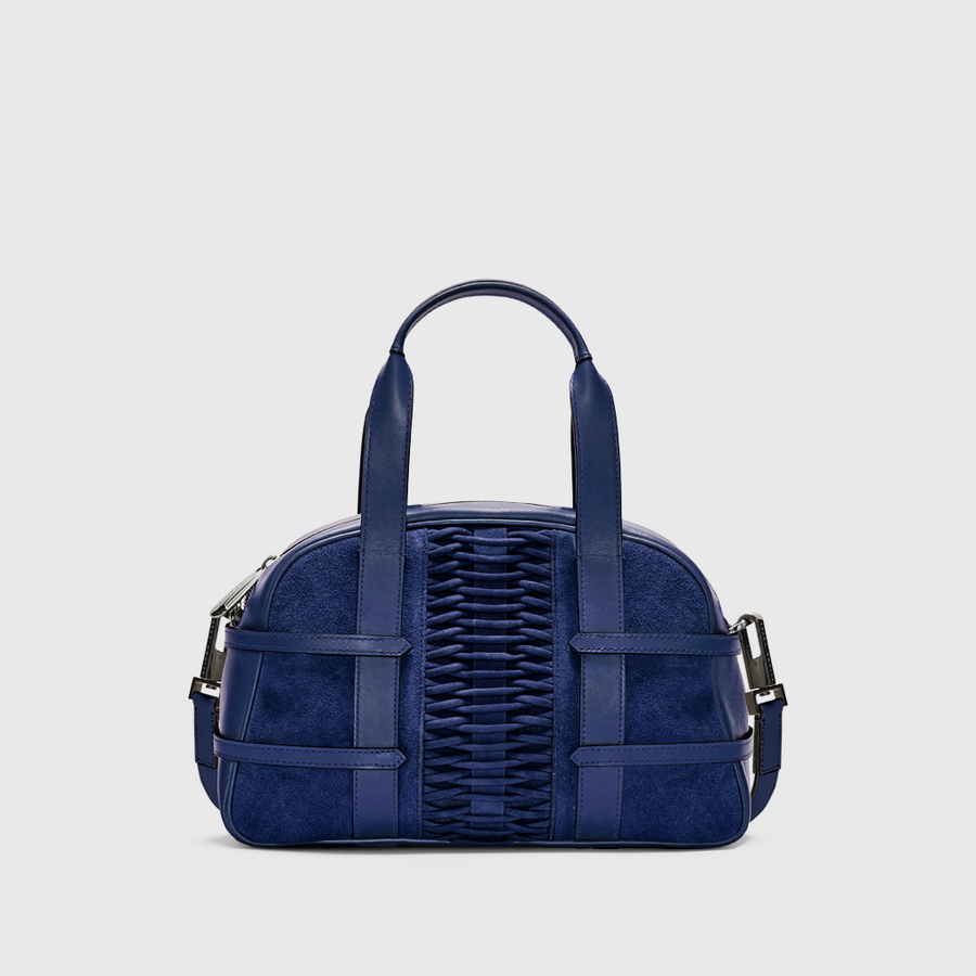 YLIANA YEPEZ Medium Francesca Suede Navy braided satchel handbags