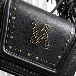 YLIANA YEPEZ bags mini Eugenia clutch black metallic studs zoom