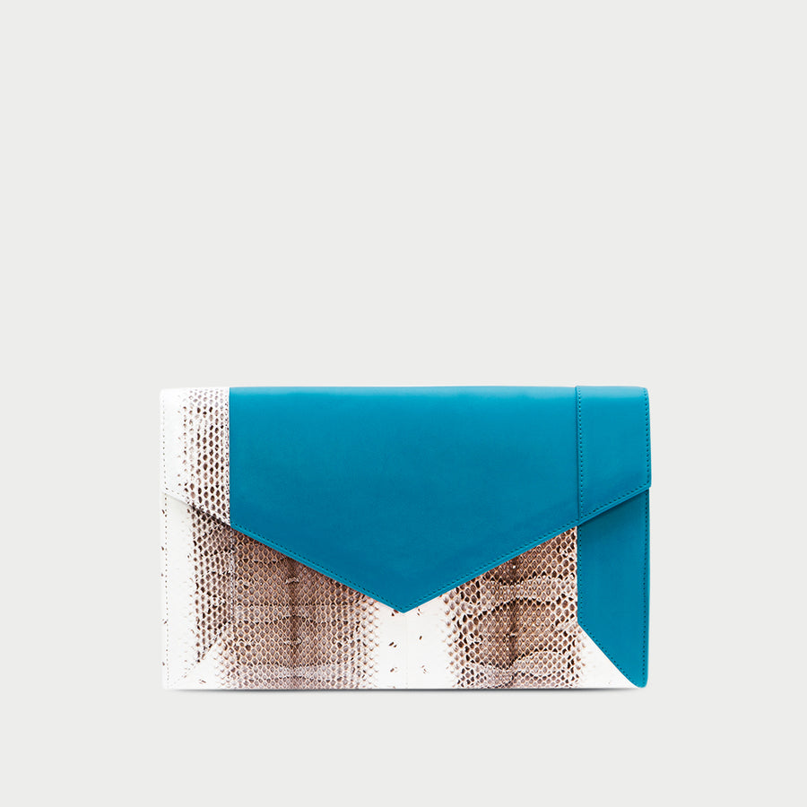 YLIANA YEPEZ handbags Scarlett turquoise leather & python clutch