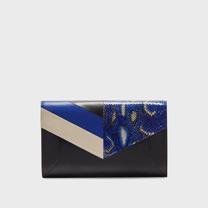 YLIANA YEPEZ handbags Scarlett vice versa sapphire leather & python clutch