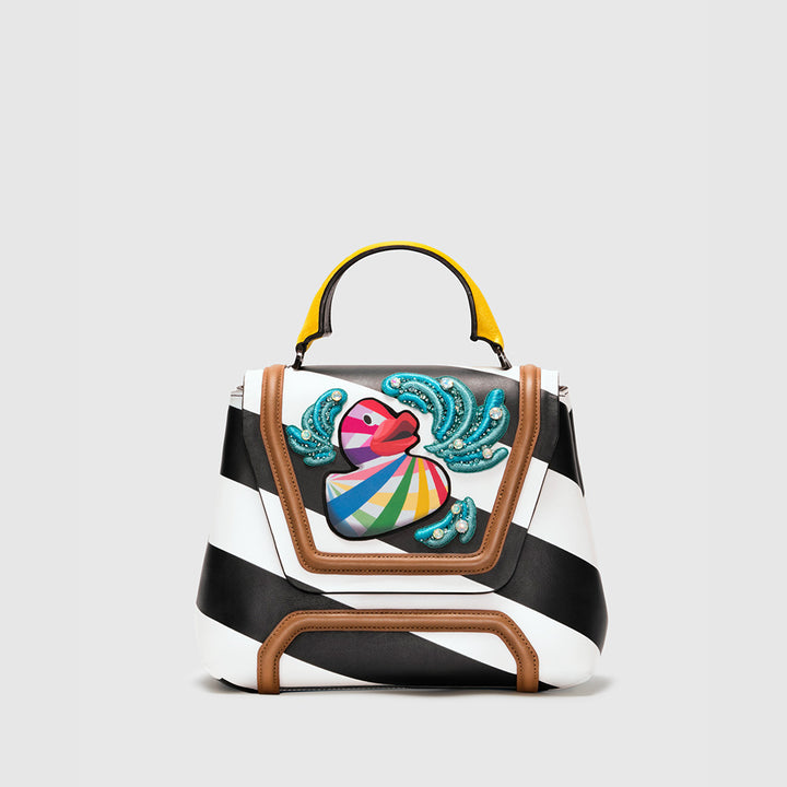 ALESSANDRA STRIPED LEATHER WITH PRINTED DUCK AND EMBROIDERED WAVES