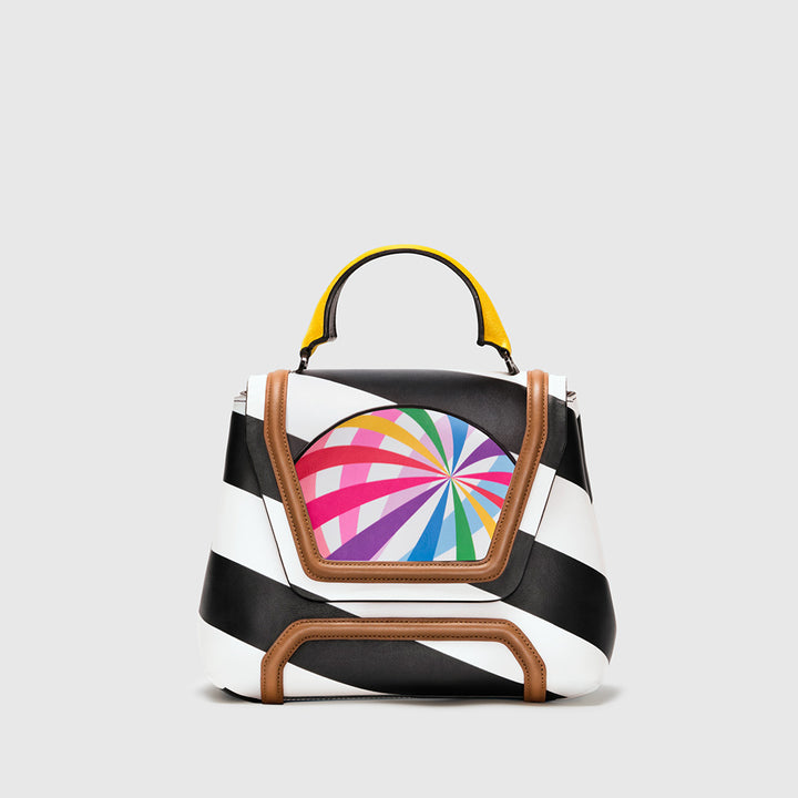 ALESSANDRA STRIPED LEATHER WITH PRINTED BEACH BALL