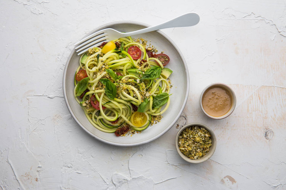 Zoodle Salad with Vegan Parmesan