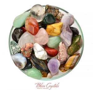 "Healing Crystals and Stones Treasure Chest! 1 lb (approx. 30+) Large All Natural Mixed ""Not Dyed"" Healing Tumbled Stones and Crystals #MS22"