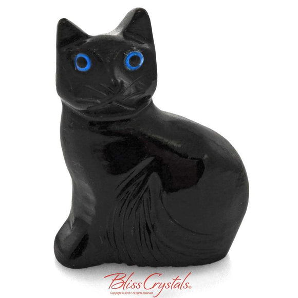 BLACK OYNX Kitty CAT Stone Collectible Figurine Crystal Sculpture